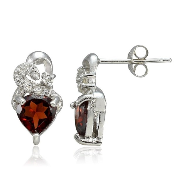 Sterling Silver Choice Of Birthstone Colors & White Topaz Double Heart Stud Earrings - Garnet - CL12GSJYXMT
