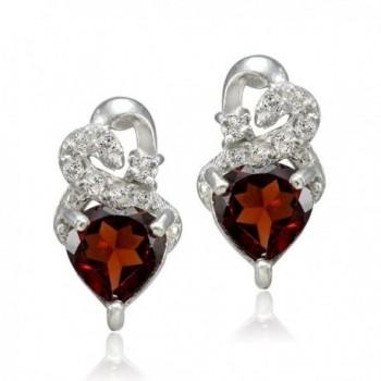 Sterling Silver Garnet Double Earrings