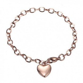 Stainless Steel Bracelets-HERACULS 316L Women's Chain Link Bracelet with Heart Charm 7.5 Inch - Rose Gold - CC12ODTKDF8