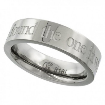 Surgical Stainless Steel 5mm I HAVE FOUND THE ONE IN WHOM MY SOUL DELIGHTS Wedding Ring- sizes 5 - 9 - CM113U6PLGL