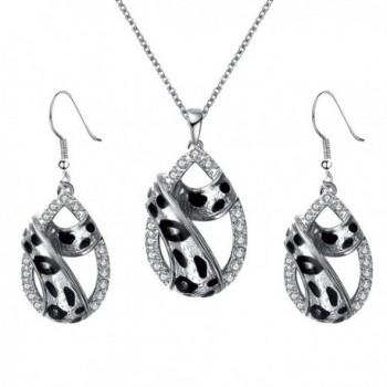 MonkeyJack Women Crystal Rhinestone Leopard Print Teardrop Pendant Necklace Earrings Set - Silver - CD1869UNT5G