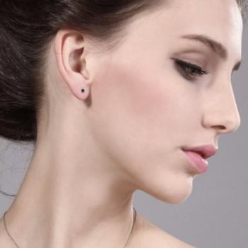 Diamond Rhodium Nickel Sterling Earrings in Women's Stud Earrings