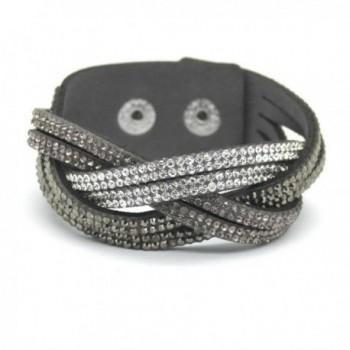 women's charm Distortion bracelets rhinestone Leather snake Chain bracelets - Grey - C3184OOHSYM
