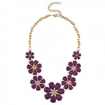 Lux Accessories Gold Tone and Purple Acrylic Flower Floral Statement Necklace - C212MS39BZN