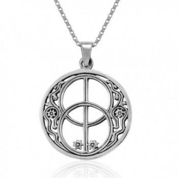MIMI Sterling Silver Sacred Chalice Well Symbol of Avalon in Glastonbury Pendant Necklace- 18 inches - C31275VCO1L