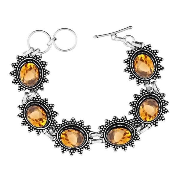 Created Gemstone 925 Sterling Silver Overlay Handmade Fashion Bracelet Jewelry - Simulated Citrine - CB1832CWEQS