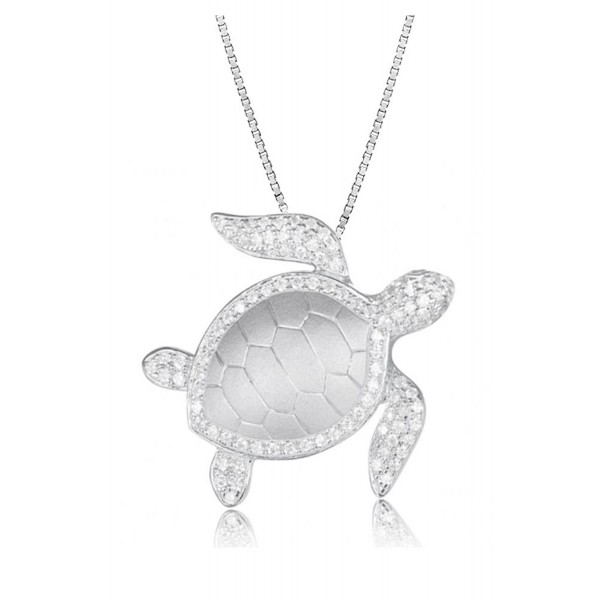 "Sterling Silver Pave CZ Turtle Honu Necklace Pendant With 18"" Box Chain - CK1824SO8ST"
