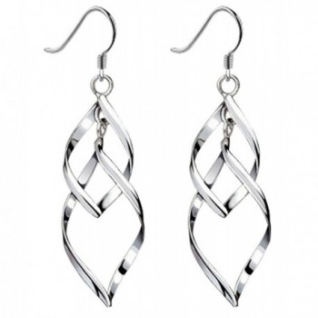 Bassion Womens Classic Double Linear Loops Design Twist Wave Earrings for Women Girls - Silver-colored - CV186E4GXT4