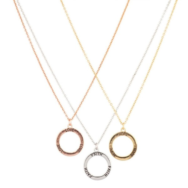 Lux Accessories Hope Faith Love Multi Color Circle Of Life BFF Best Friends Pendant Necklace Set (3 PC) - CH11W4ZR6J9