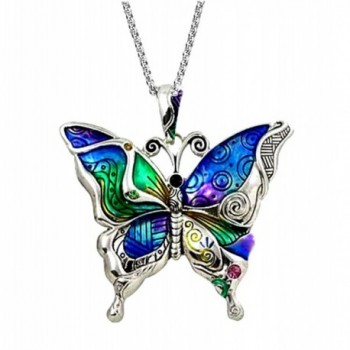 """DianaL Boutique Silvertone Colorful Butterfly Pendant Necklace 24"""" Stainless Steel Chain - CP11PLX0PD5"""