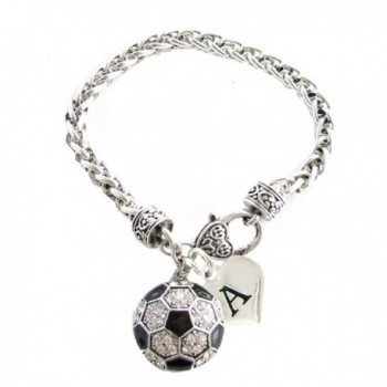 Custom Crystal Soccer Ball Silver Bracelet Jewelry Choose Your Initial All 26 - CW12MZYD9RH