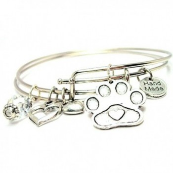 Plus Size Center Heart Paw Print Adjustable Wire Bangle Set - C712CQ9LCVP