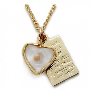10K Gold Filled Mustard Seed Heart with Passage Plate Pendant Set- 1/2 Inch - CF113F0YUQT
