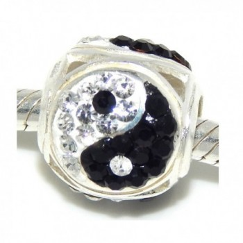 """Solid 925 Sterling Silver """"Yin Yang Barrel with Black and Clear Crystals"""" Charm Bead - CH12NSB8E2R"""