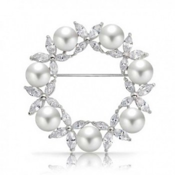 Bling Jewelry White Simulated Pearl Marquise CZ Wreath Brooch Pin Rhodium Plated - CR118NUR4KZ