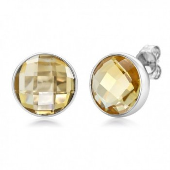 6.00 Ctw Citrine Round Checkerboard Style 925 Silver Stud Earrings - CC11W7UKF9T