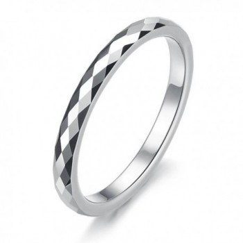 2mm Women's Multi-faceted Tungsten Wedding Band Ring (Size Selectable) - CJ1101HBDRX