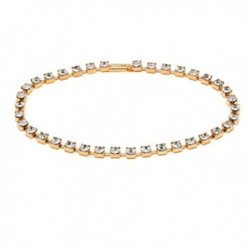18K Gold Plated Gold and Clear Crystal Princess Cut Snap On Tennis Anklet - C411ZRH0IFZ
