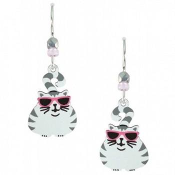 Sienna Sky Phat Cat Large Silvery White Tabby Cat Earrings 1310 - CG11BVAISAR