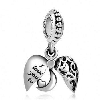 Heart of Charms I Love You To The Moon And Back Charms Openable Heart Charms Dangle Beads for Bracelets - CK188GKEL8A