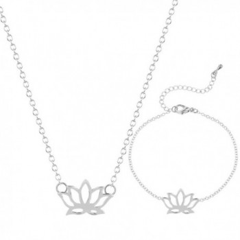 Handmade Blooming Lotus Flower Bracelet Necklace for Women Girls Jewelry Sets Gold Plated - SILVER - CC183L947GM