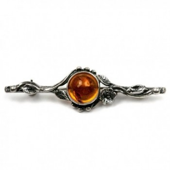 Sterling Silver Amber Flower Classic Brooch - CF117AN1MGH