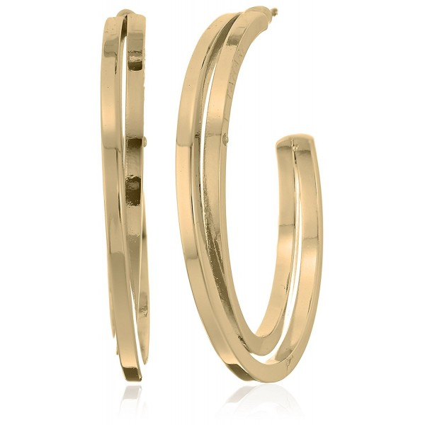 "T Tahari ""Essentials"" Bright Logo with Cry Cubic Zirconia Stone Hoop Earrings - Gold - CX1859OANE9"