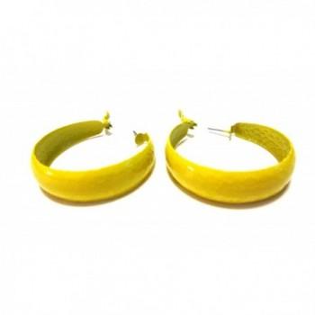 Thick Colorful Hoop Earrings 2 inch Hoop Assorted Color Hoop Earrings - Yellow - CN12NYSTQ1Y