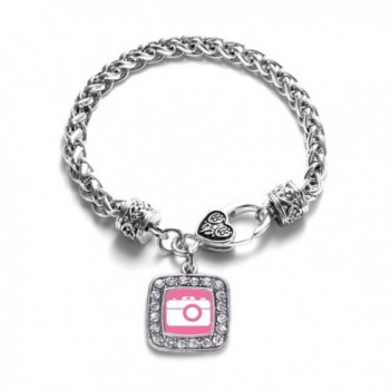Pink Camera Photographers Classic Silver Plated Square Crystal Charm Bracelet - CE11KY4UDSD