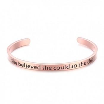 Bracelet Engraved Inspirational Christmas Valentines - Rose Gold - CI189HGZ2YN