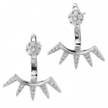 Solid Sterling Silver Rhodium Plated Cubic Zirconia Stud Earrings with Spike Jackets - CJ122B6MODD