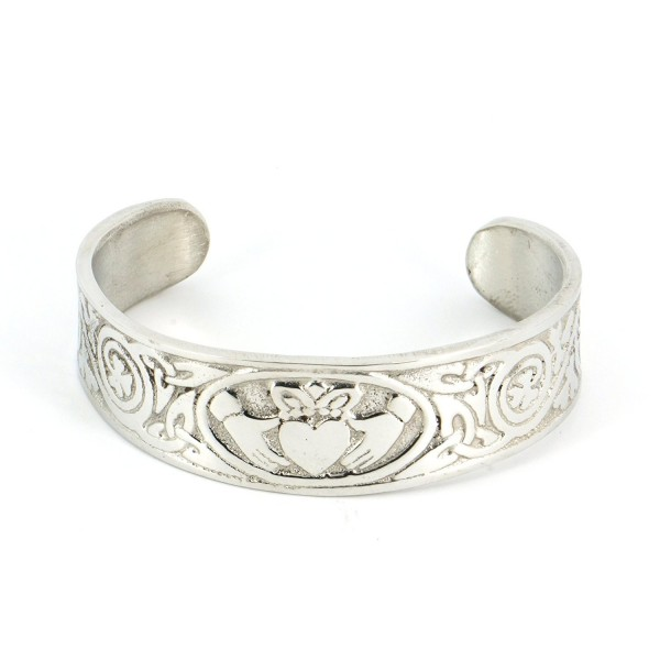 Handmade Claddagh Celtic Silver Shine Pewter Cuff Bracelet with Traditional Irish Shamrock (Adjustable) - CM11CAI4IHR