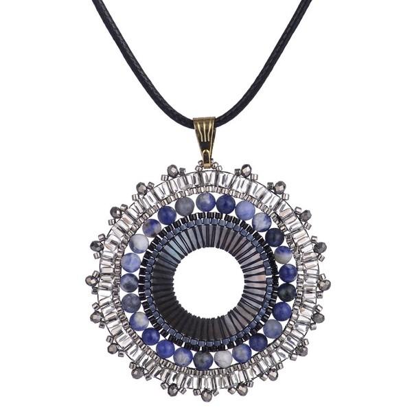 BeadChica Handmade Large Beaded Seed Bead Long Necklace Beadwork Sea Shell Jewelry - Color 6 - C217YH4S3M0