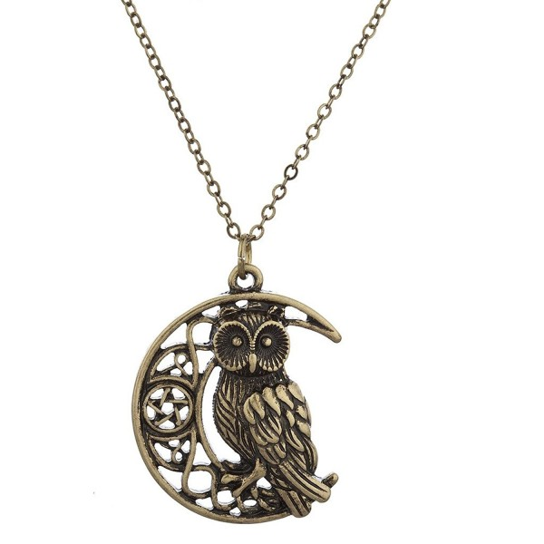 Lux Accessories Burnished Gold Casted Owl crescent Moon Charm Necklace - CV12MS36E8Z