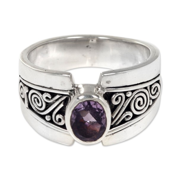 NOVICA Amethyst .925 Sterling Silver Cocktail Ring- 'Purple Karma' - CG1860YIUYE