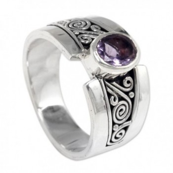 NOVICA Amethyst Sterling Silver Cocktail in Women's Statement Rings