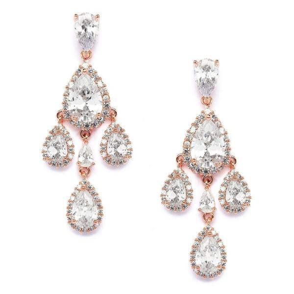 Mariell 14k Rose Gold CZ Clip-On Wedding Prom Bridal Chandelier Earrings - Pear-Shaped Teardrop Dangles - CQ12JGUEWLJ