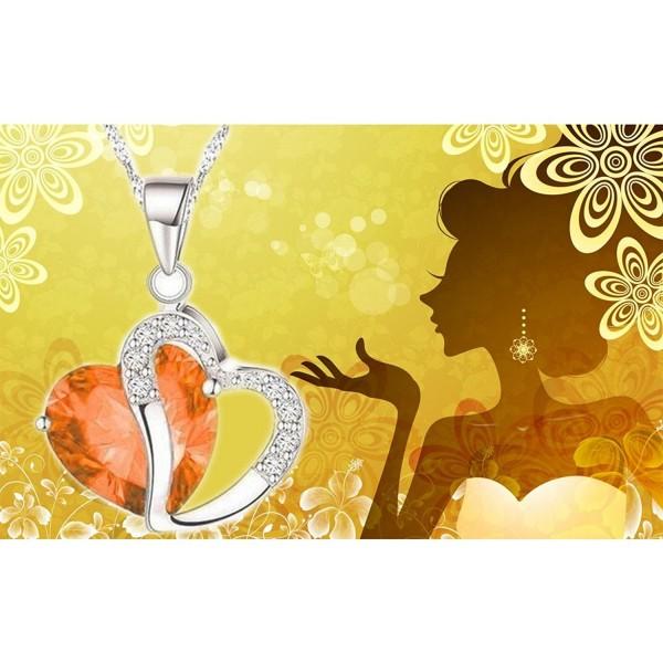 Diamond Statement Pendant Necklace Swarovski - Heart Shape 9 - CL17Y0K4QIL