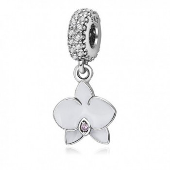 Orchid Charm with CZ Stone 925 Sterling Silver Flower Beads for Charms Bracelets - Dangling White - CS185LCENCT