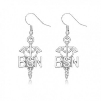 MANZHEN Medical Jewelry Caduceus RN Registered Nurse Dangle Earrings - BSN-silver - CG185WZNM58