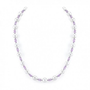 8mm White Freshwater Cultured Pearl & Amethyst Necklace - CI11MMK6D27