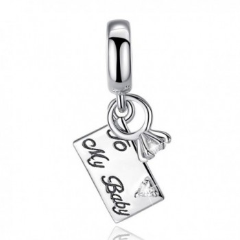 """Mother's Day Gift """"To My Baby"""" 925 Sterling Silver Love Letter & Rings Dangle Charms for Bracelets - Blue - CU1802C4CWS"""