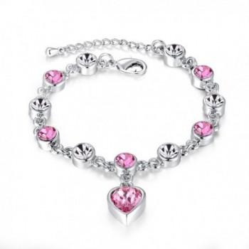 Womens Girls Love Heart Bracelet Made with Swarovski Crystals - CU186X6Y3Q6