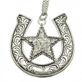 Q&Q Fashion Western Cowgirl Horse Shoe CZ Texas Ranger Star Chain Rodeo Bib Necklace - CD11W5FXTNZ