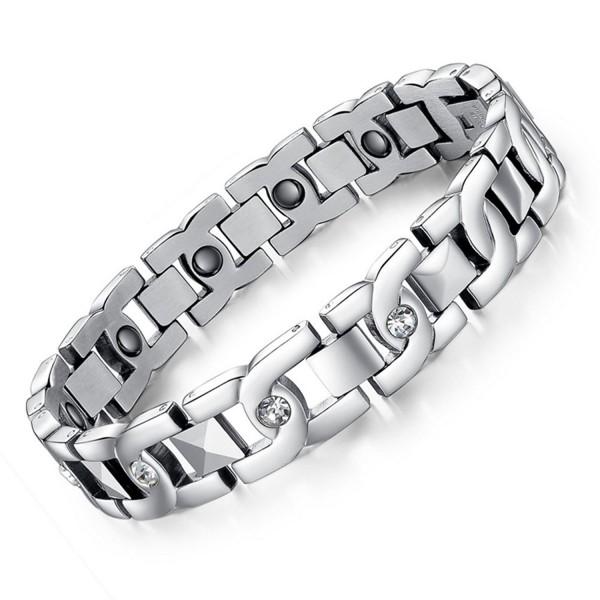 Titanium Steel Magnetic Therapy Germanium Link Bracelet Power Balance - C512EEUKA1B