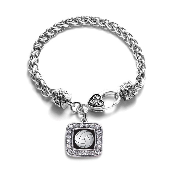 Volleyball Sport Charm Classic Silver Plated Square Crystal Bracelet - C411LIB3WCF
