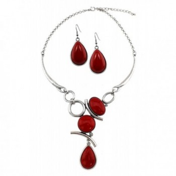 Stone Cabochon Set Link Necklace With Matching Earrings - Red-Coral - CV12IRP6Q27