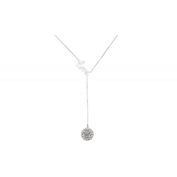 Love Y Necklace with 10mm Crystal Drop in Sterling Silver - CP12CMPMKRD
