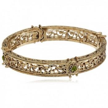 1928 Jewelry Gold-Tone Green Crystal Flower Stretch Bracelet - CF116PQX4OT