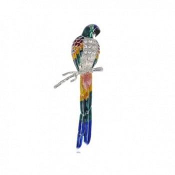 Alilang Silvery Tone Tropical Rainbow Colorful Large Parrot Bird Brooch Pin - Multicolored - CD113T2D6E5